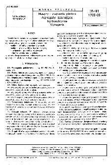 Maszyny i urządzenia górnicze - Agregaty zasilające hydrauliczne - Wymagania BN-91/1705-55
