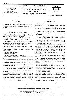 Urządzenia do eksploatacji złóż ropy naftowej - Pompy wgłębne tłokowe BN-87/0486-12