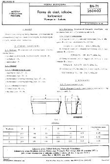 Formy do ciast, keksów, tortownice - Wymagania i badania BN-71/2604-02