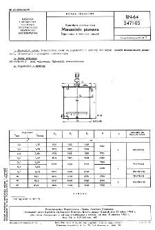 Aparatura cukrownicza - Mieszalniki pionowe - Pojemności i wymiary naczyń BN-64/2471-05