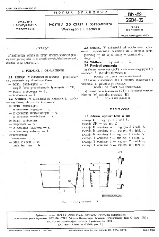 Formy do ciast i tortownice - Wymagania i badania BN-89/2604-02