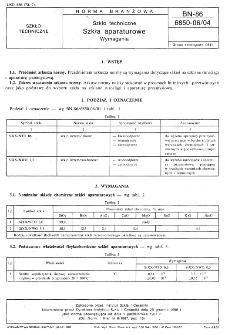 Szkło techniczne - Szkła aparaturowe - Wymagania BN-86/6850-06/04