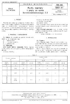 Rurki, kapilary i pręty ze szkła borokrzemianowego 3.3 BN-88/6851-41