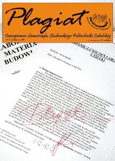 Plagiat : czasopismo Samorządu Studenckiego Politechniki Lubelskiej nr 1(1)/2006