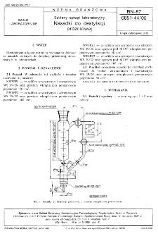 Szklany sprzęt laboratoryjny - Nasadki do destylacji próżniowej BN-87/6851-44/05