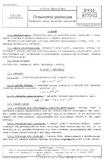 Grawimetria geodezyjna - Podstawowe nazwy, określenia i oznaczenia BN-66/8770-02