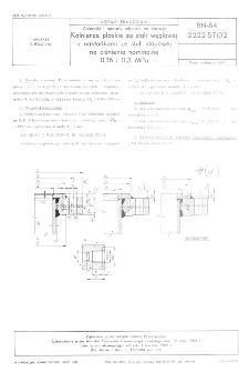 Zbiorniki i aparaty odporne na korozję - Kołnierze płaskie ze stali węglowej z nakładkami ze stali stopowej na ciśnienia nominalne 0,16 i 0,3 MPa BN-84/2222-57/02
