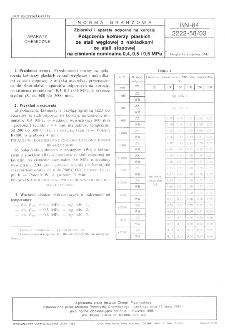 Zbiorniki i aparaty odporne na korozję - Połączenia kołnierzy płaskich ze stali węglowej z nakładkami ze stali stopowej na ciśnienia nominalne 0,4, 0,5 i 0,6 MPa BN-84/2222-58/03