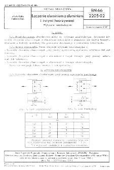 Łączenie aluminium z aluminium i innymi tworzywami - Wytyczne konstrukcyjne BN-66/2205-02