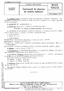 Gwintownik do otworów do korków topliwych BN-65/9312-05