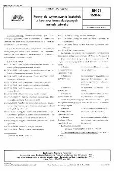 Formy do wykonywania kształtek z tworzyw termoplastycznych metodą wtrysku BN-71/1681-16